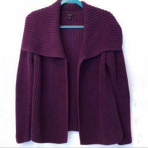 Talbots Open Front Chunky Knit Purple Cardigan